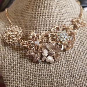 Arizona Jean Co Gold Floral Bib Necklace